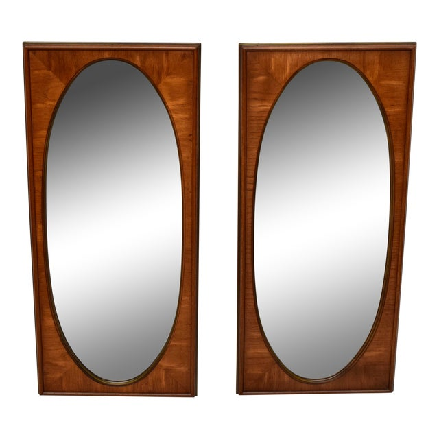 1950's White of Mebane Walnut Oval Mirrors - a Pair For Sale