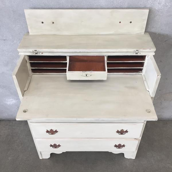 Early American Antique White Secretary Dresser For Sale - Image 4 of 11