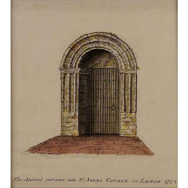 An ancient entrance into St. Johns Church in Lewes 1771 watercolor on paper from 1910. Signed Lambert lower left....