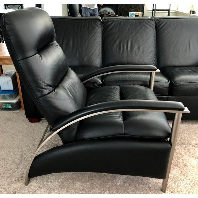 Modern Ethan Allen Genuine Black Leather Radius Recliner For Sale - Image 3 of 7