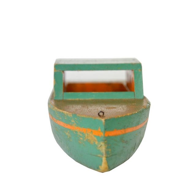 Vintage Green Wooden Toy Boat - Image 3 of 5