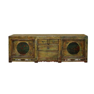 Chinese Distressed Green Brown Oriental Flower Graphic Tv Console Cabinet For Sale