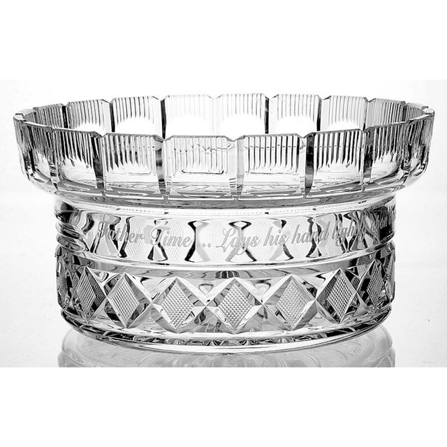 "Waterford Crystal Centerpiece Bowl & Lid features the engraving ""Father Time lays his hand lightly upon those who used him..."