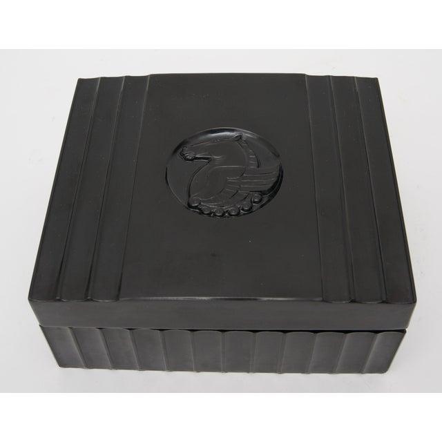 Art Deco 1920s Dunhill American Art Deco Black Bakelite Storage Box with Pegasus Motif For Sale - Image 3 of 9