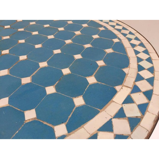Metal Moroccan Mosaic Blue Tile Bistro Table For Sale - Image 7 of 13