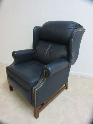 Gentil Traditional Burris Leather Hobnail Wing Back Recliner Chair For Sale    Image 3 Of 6