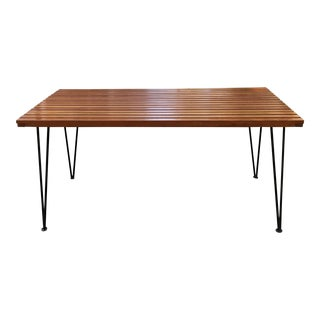 Sol-Air Pipsan Saarinen Mid-Century Slatted Wood Dining Table Hair Pin Legs For Sale