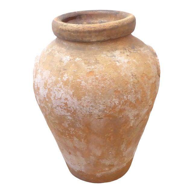 Vintage Weathered Terra Cotta Garden Urn For Sale