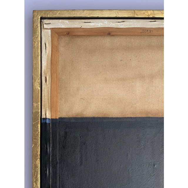 Minimal Abstract Black and Tan Framed Painting For Sale - Image 9 of 11