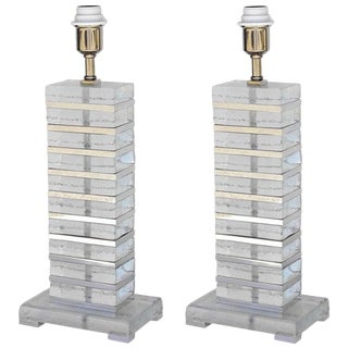 Impero Stacked Murano Glass Table Lamps by Fabio Ltd - a Pair For Sale