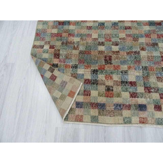 Vintage Mosaic Designed Turkish Deco Rug - 3′10″ × 8′ For Sale In Los Angeles - Image 6 of 6