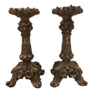 Pair of Gilded Gold Leaf Pillar Candleholders For Sale
