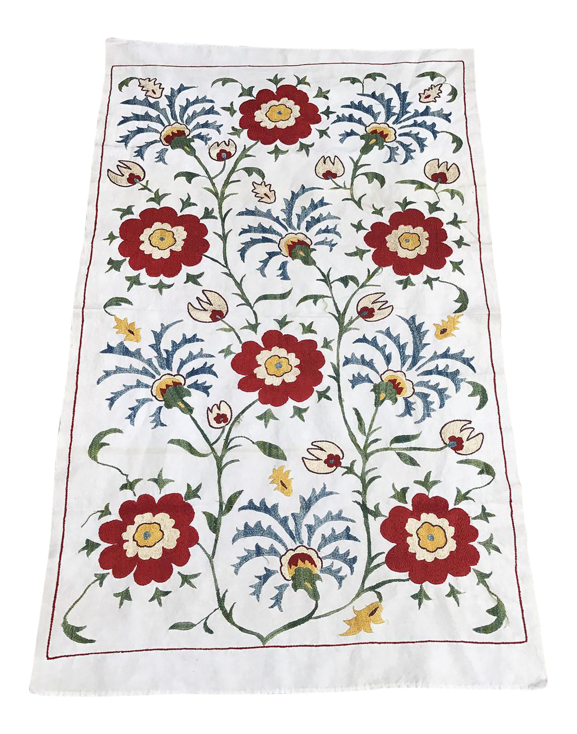 Exceptionnel Suzani Tablecloth 16th Century Vintage Design Table Runner For Sale