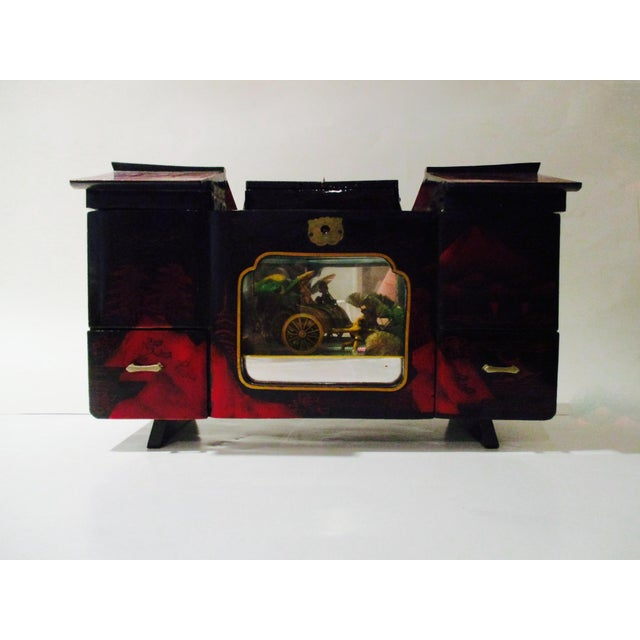 Asian Black Lacquer Jewelry Music Box - Image 2 of 11