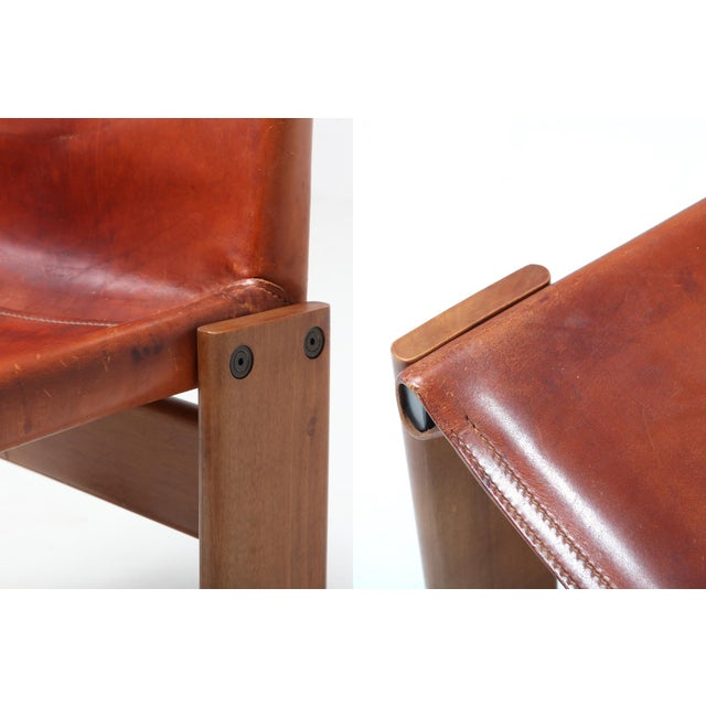 Wood Scarpa 'Monk' Chairs in Patinated Cognac Leather, Set of Four For Sale - Image 7 of 11