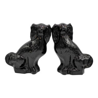 Large Antique English Staffordshire Dogs Jackfield King Charles Spaniels - a Pair For Sale