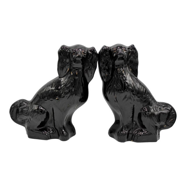 Large English Staffordshire Dogs Jackfield King Charles Spaniels - a Pair For Sale