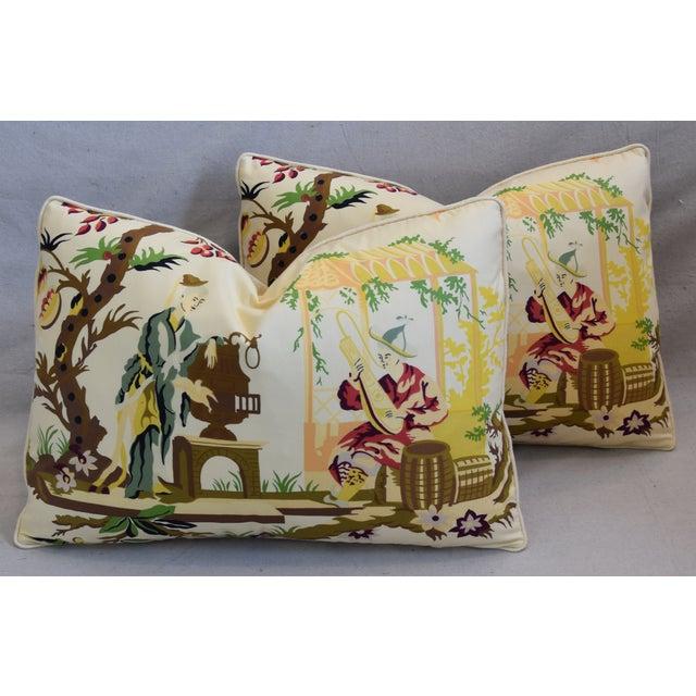 "Cotton Brunschwig Fils & Scalamandre Velvet Feather/Down Pillows 23"" X 17"" - Pair For Sale - Image 7 of 13"