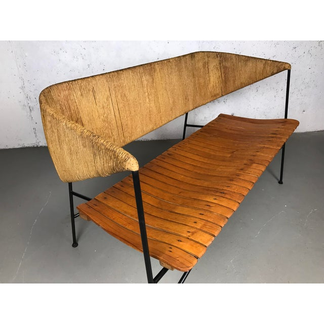 Brown Modernist Settee by Arthur Umanoff for Shaver Howard & Raymor Loveseat Bench Sofa Couch For Sale - Image 8 of 13