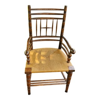Bausman William Morris Rush Seat Arm Chair For Sale