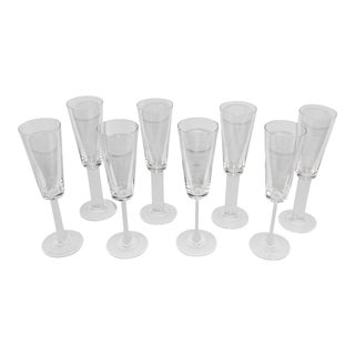 Mikasa Free Spirit Frosted Crystal Champagne Flutes - Set of 8 For Sale