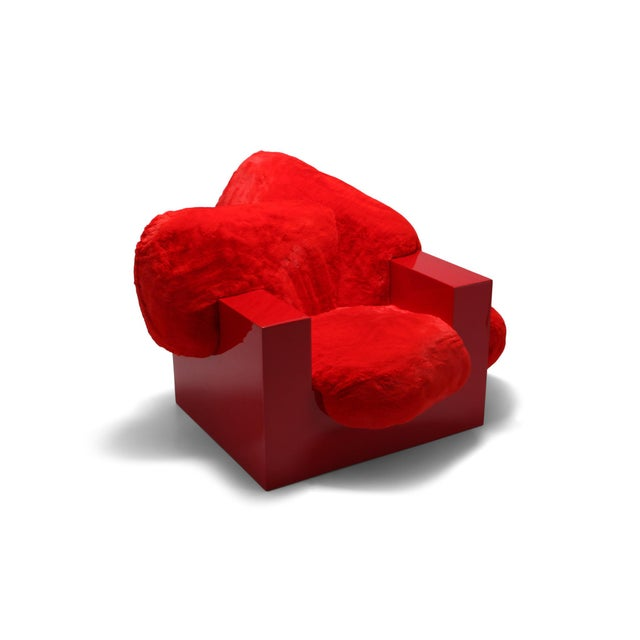 'Pillow Lounge Chair' in Red Lacquer and Faux Fur by Schimmel & Schweikle For Sale - Image 11 of 11