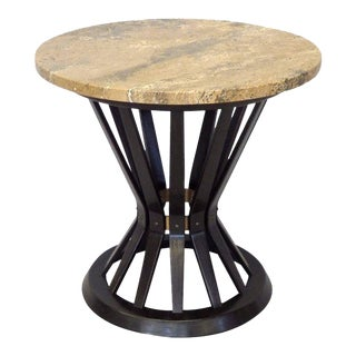 Edward Wormley for Dunbar Travertine Top Sheaf of Wheat Table For Sale