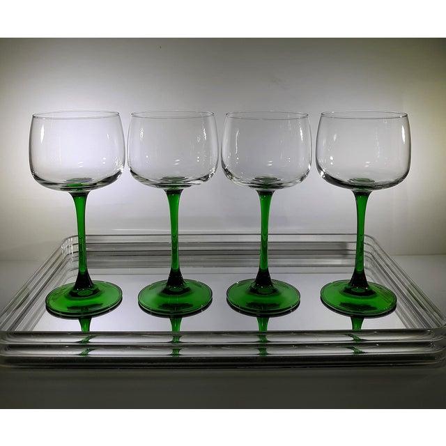 Vintage French Green Stem Wine Glasses - Set of 4 For Sale - Image 4 of 7