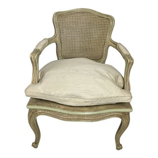 1950s Vintage French Cane Down Bergere Chair For Sale