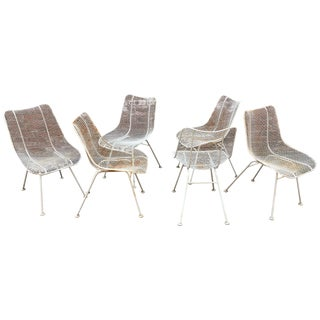Set of Six Woodard Sculptura Wire Mesh Side Chair For Sale