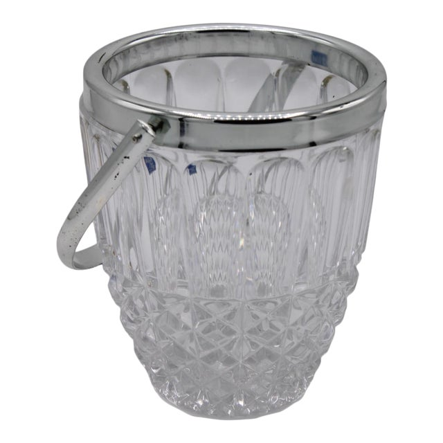 Mid-Century Crystal Ice Bucket For Sale