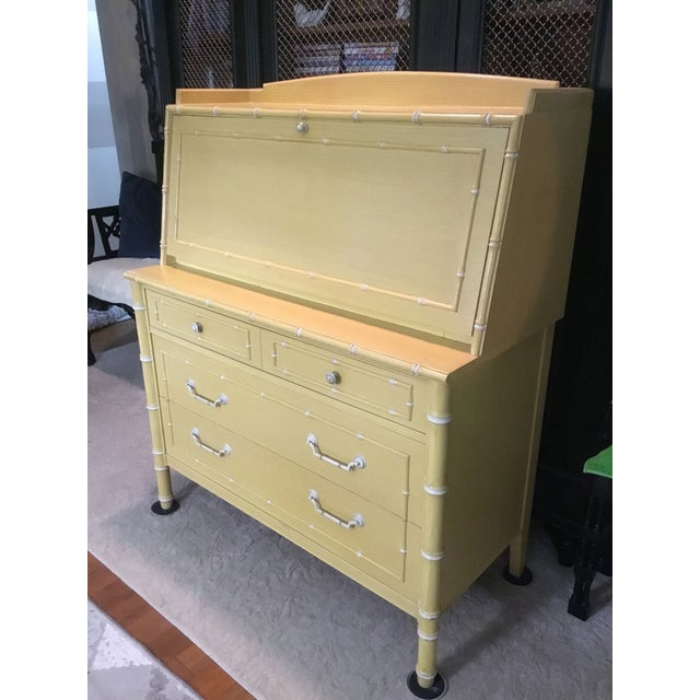Thomasville Thomasville Faux Bamboo Drop Down Secretary Desk For Sale - Image 4 of 7