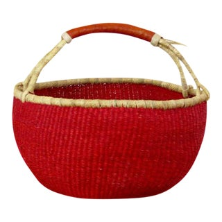 African Boho Chic Bolga Ghana Medium Red Woven Fiber Basket For Sale