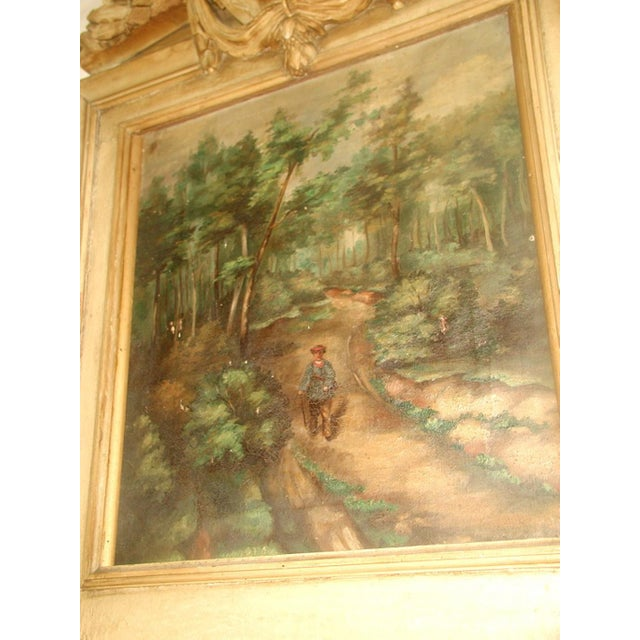 French Trumeau Mirror Canvas Oil Painting, 19th C. - Image 4 of 8