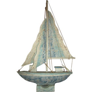 Indonesian Wooden Boat Statue For Sale