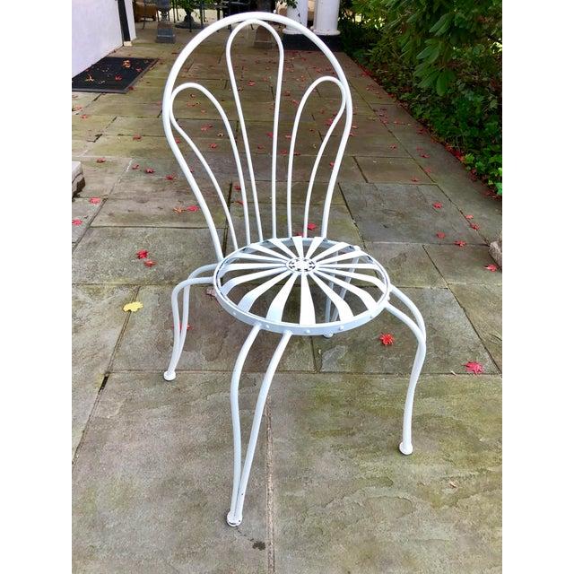 1930s Vintage Francois Carre White Sunburst Iron Garden Chair For Sale - Image 12 of 12