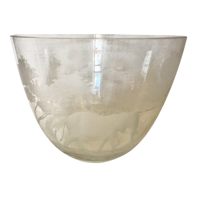 Image of Etched African Animals Vase / Bowl