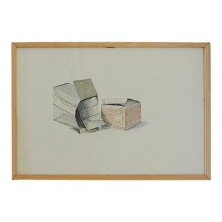 Original Ink Still Life Drawing | Mid Century Artwork | 'Initial Line and Skotch' | Dalia Ramanauskas For Sale