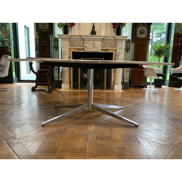 Oval Knoll Marble Top Dining Table For Sale - Image 9 of 13