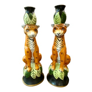 Porcelain Cheetah Candlesticks - a Pair For Sale