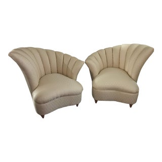 Vintage Style Hollywood Regency Asymmetrical Scalloped Chairs - A Pair For Sale