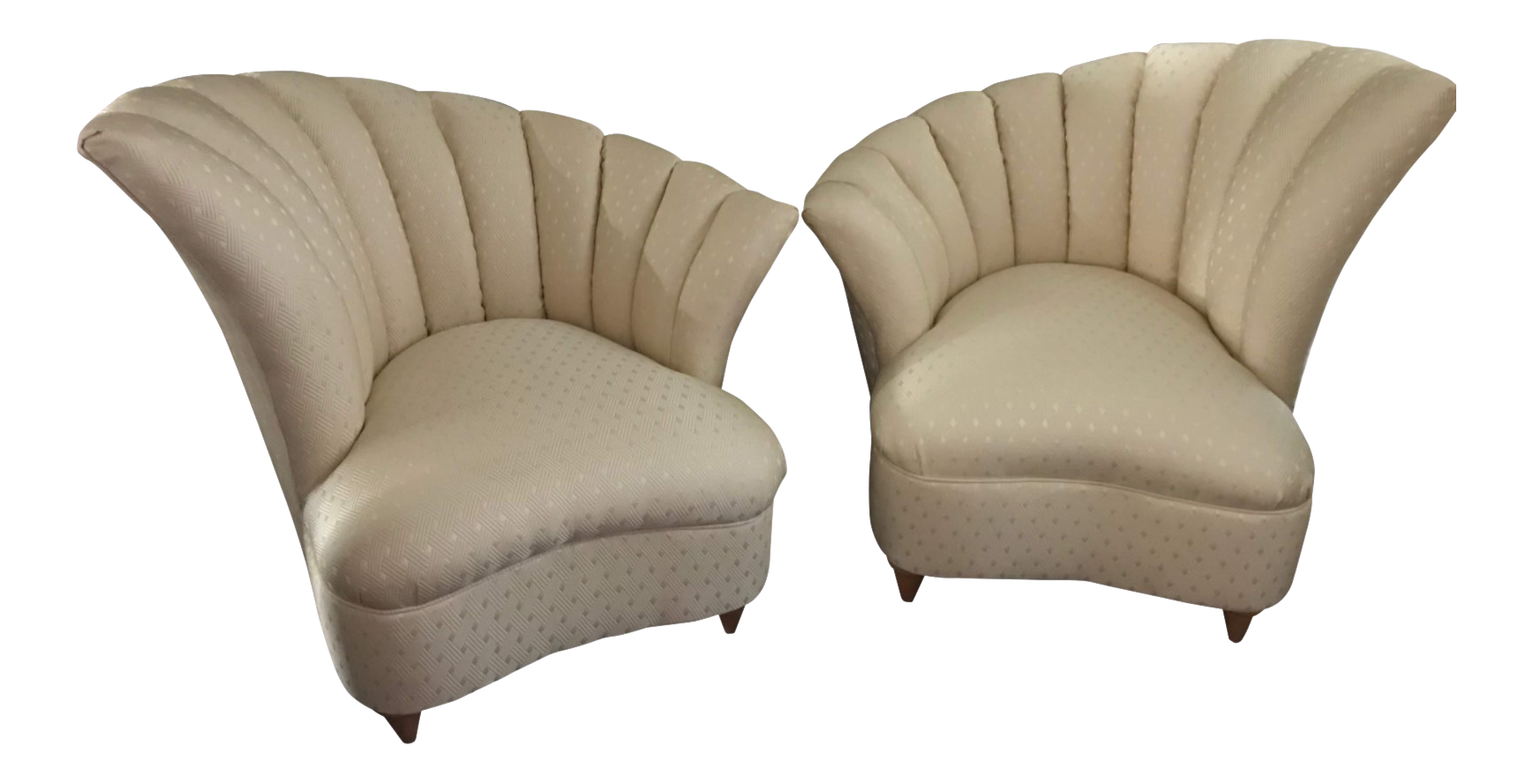 Captivating Vintage Style Hollywood Regency Asymmetrical Scalloped Chairs   A Pair