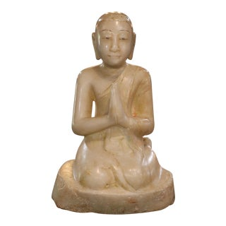 Burmese Alabaster Seated Disciple Sculpture For Sale
