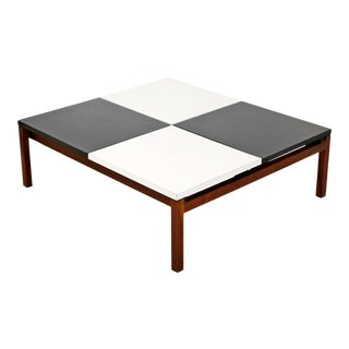1960s Mid Century Modern Lewis Butler for Knoll Black White on Wood Coffee Table For Sale
