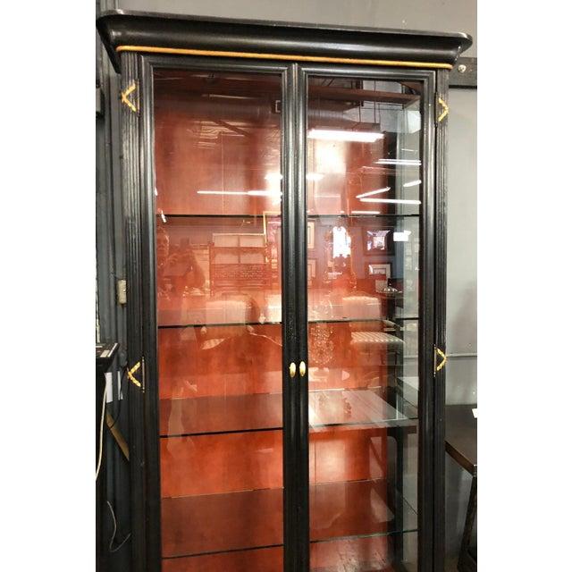 1990s Pair of Erika Brunson for Randolph & Hein Black & Gold Vitrine Showcase Cabinet W Red Interior For Sale - Image 5 of 6
