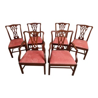 Set of 6 Vintage George III Chippendale Style Oak Dining Chairs Reupholstered For Sale