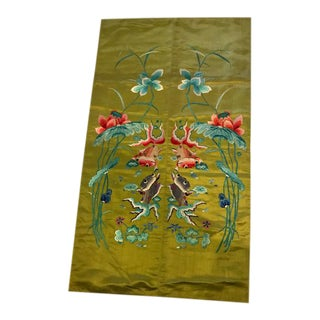 Vintage Green Floral Silk Embroidery