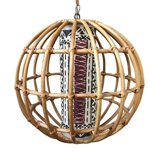 Mid-Century Modern Restored Franco Albini Inspired Stick Rattan Spherical Chandelier For Sale - Image 3 of 3