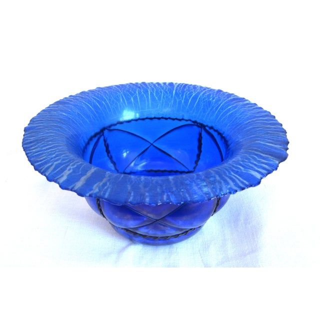 Metal Caged Iridescent Blue Glass Bowl - Image 2 of 6