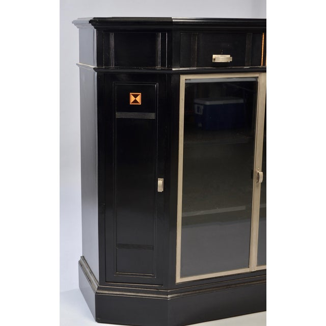 Art Deco Ebonized Cabinet With Aluminum Trim and Glass Doors For Sale In Detroit - Image 6 of 11